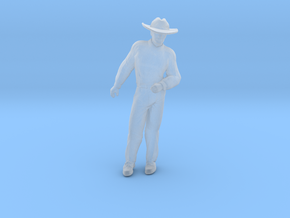 Man Standing Arm Bent: Wearing a Large Hat in Smoothest Fine Detail Plastic: 1:64 - S