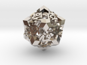 Intangle d20 in Rhodium Plated Brass