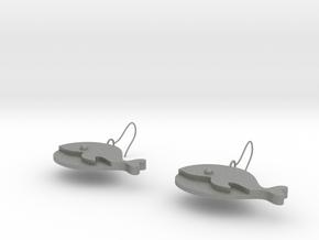 Whale earrings in Gray PA12