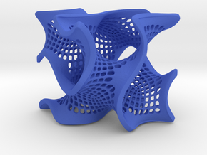 Perforated gyroid in Blue Processed Versatile Plastic