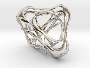 Twisted Tetrahedron in Rhodium Plated Brass