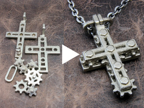 "Rotate Pendant ""Cross Gear"" in Polished Nickel Steel"