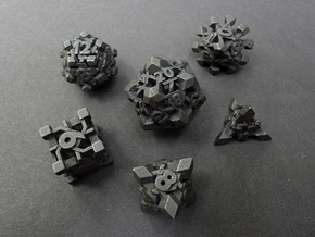 Intangle Dice Set in Polished and Bronzed Black Steel