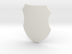 Badge Shield (Plain) in White Natural Versatile Plastic: Small