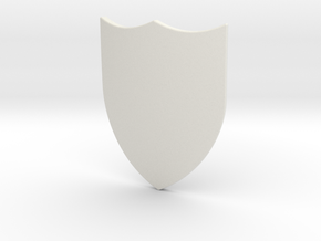 Swiss Shield (Plain) in White Natural Versatile Plastic: Small