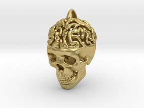 Brain Skull Pendant in Natural Brass
