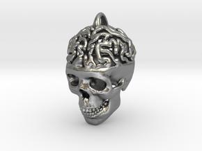 Brain Skull Pendant in Natural Silver