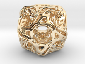 Ported looped drilled  cube pendant in 14k Gold Plated Brass