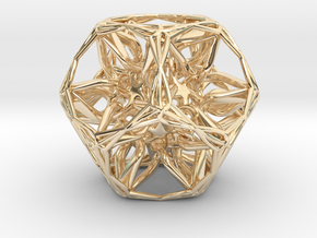 Organic Dodecahedron star nest in 14k Gold Plated Brass
