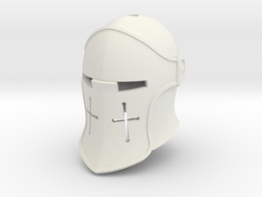 Visored Barbute (For Crest) in White Natural Versatile Plastic: Small