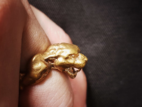 Panther Ring in Natural Brass: 6 / 51.5