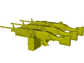 1/9 scale FN Fabrique Nationale M-249 Minimi x 3 in Smooth Fine Detail Plastic