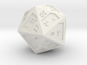 d20 in White Natural Versatile Plastic