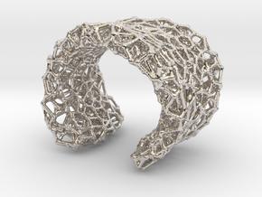 Cellular Cuff Bracelet in Rhodium Plated Brass