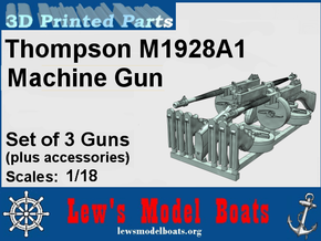 Thompson M1928 Machine Gun Set (3) in Smooth Fine Detail Plastic: 1:18