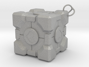 Weighted Companion Cube Keychain in Aluminum