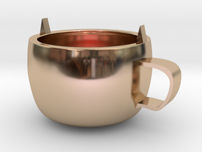 Cat mug in 14k Rose Gold Plated Brass