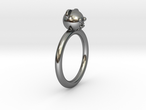 Bear Head Ring in Polished Silver