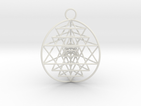 "3D Sri Yantra 3 Sided Optimal 1.5"" Pendant in White Natural Versatile Plastic"