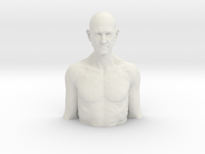 35cm Old man relief in White Natural Versatile Plastic: Extra Large