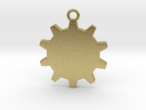 Time (Gear) Pendant in Natural Brass
