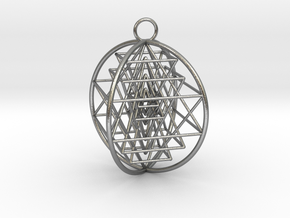 3D Sri Yantra 4 Sided Optimal in Natural Silver