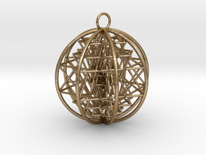 "3D Sri Yantra 8 Sided Optimal Pendant 2.2"" in Polished Gold Steel"