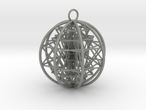 "3D Sri Yantra 8 Sided Optimal Pendant 2.2"" in Gray PA12"