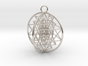 3D Sri Yantra 4 Sided Optimal in Rhodium Plated Brass