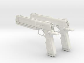 """1/3rd Scale """"Black & White"""" Pistols in White Natural Versatile Plastic"""