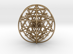 3D Sri Yantra 6 Sided Optimal Large in Polished Gold Steel