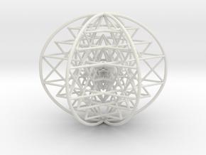 "3D Sri Yantra 6 Sided Symmetrical Large 3+"" in White Natural Versatile Plastic"