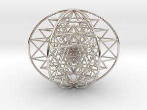 "3D Sri Yantra 6 Sided Symmetrical 3"" in Platinum"