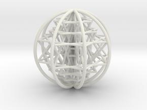 "3D Sri Yantra 8 Sided Optimal Large 3+"" in White Natural Versatile Plastic"