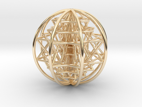 """3D Sri Yantra 8 Sided Optimal Large 3"""" in 14K Yellow Gold"""
