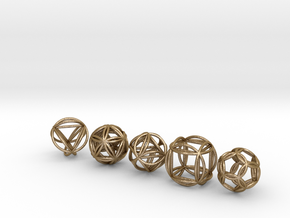 Platonic Spheres w/Nested Platonic Solids in Polished Gold Steel