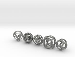Platonic Spheres w/Nested Platonic Solids in Gray Professional Plastic