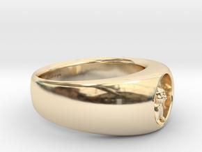 Koala Ring Ø 0.748inch-18.89mm size 9 inscription in 14k Gold Plated Brass