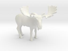 HO Scale Moose in White Natural Versatile Plastic
