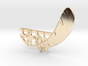 """Feather and 9 Stars"" Collar Clip in 14k Gold Plated Brass"