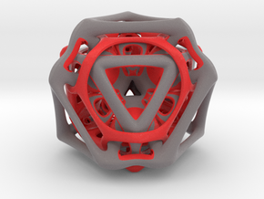 Ported looped Tetrahedron color 8.5x7.3x8 cm in Matte Full Color Sandstone