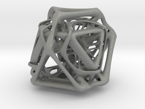 Ported looped Tetrahedron Plastic 5.6x4.8x5.3 cm  in Gray PA12