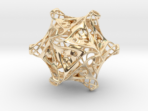 Icosahedron modified organic  in 14k Gold Plated Brass