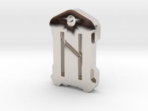 Nordic Rune Letter H in Platinum