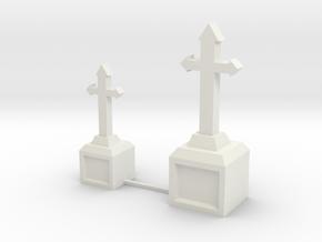 Tombstone Crosses in White Natural Versatile Plastic: 1:22.5