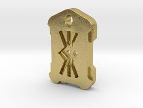 """Nordic Rune Letter """"KK"""" in Natural Brass"""