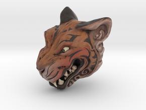 Full Colour Oni Tiger, Miniature Noh Mask in Natural Full Color Sandstone