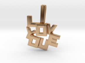 """I LOVE YOU"" Pendant in Polished Bronze"