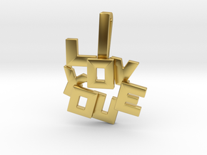 """I LOVE YOU"" Pendant in Polished Brass"