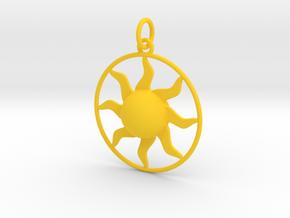 Sun Pendant in Yellow Processed Versatile Plastic